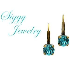 Swarovski Crystal Earrings, 6mm Light Turquoise